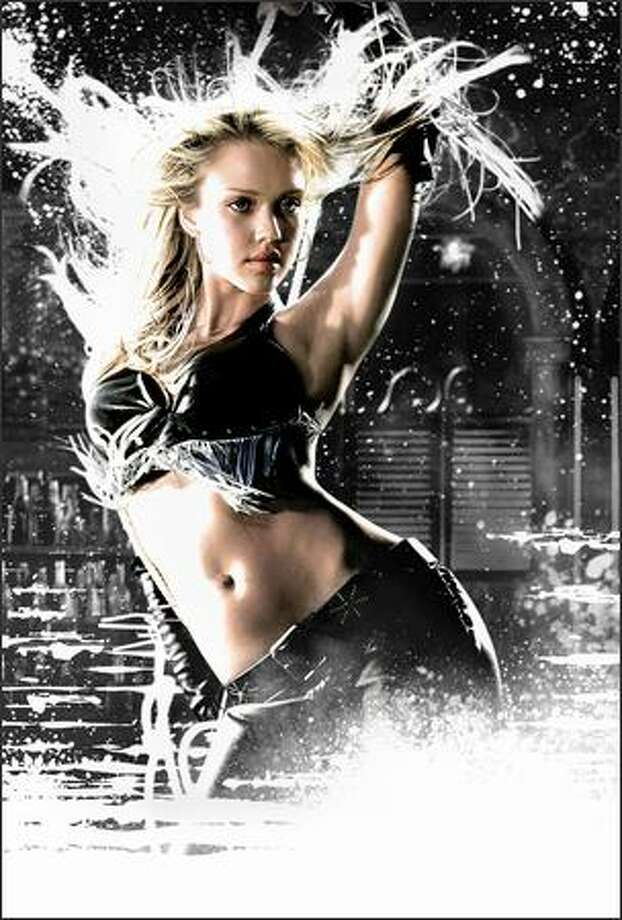 "Jessica Alba is one of many stars in ""Sin City,"" a cinematic adaptation of artist Frank Miller's graphic novels (or comic books, depending on your point of view) from the 1990s. The film also stars Rosario Dawson, Elijah Wood, Bruce Willis, Benicio Del Toro, Josh Hartnett, Michael Madsen, Brittany Murphy, Clive Owen and Mickey Rourke. Photo: Dimension Films"