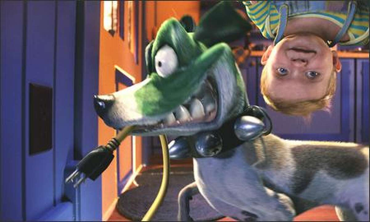 """""""Baby Alvey"""" and """"Otis the Dog"""" playing around in New Line Cinema's family comedy, """"Son of the Mask."""""""