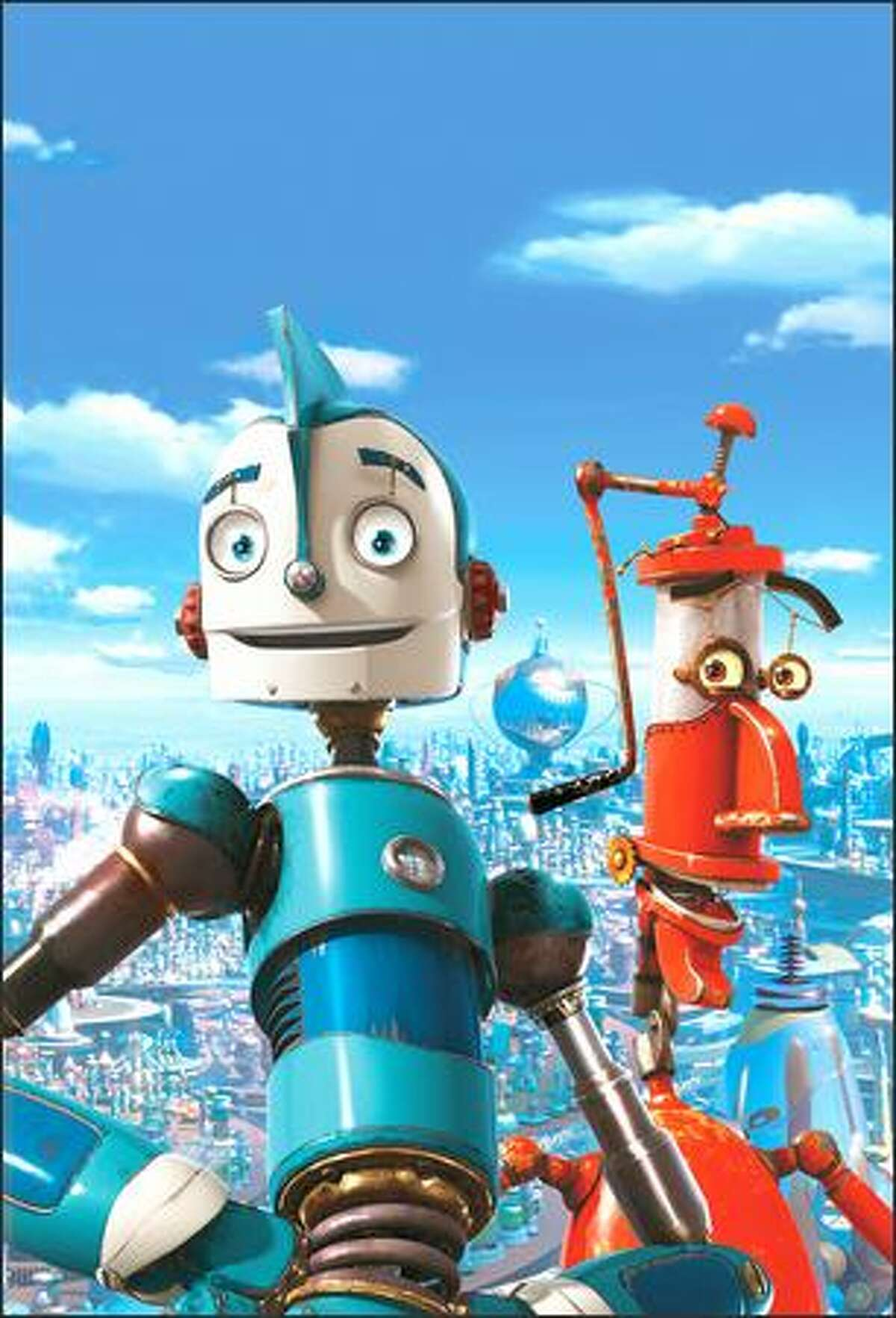 """""""Robots"""" is a CGI comedy-adventure set in Robot City, a world inhabited entirely by mechanical creatures. Our hero, young inventor Rodney Copperbottom (voiced by Ewan McGregor, front) dreams of improving life for robots everywhere. His friend Fender (voiced by Robin Williams), meanwhile, is just focused on improving himself with whatever spare parts he can scrounge up."""