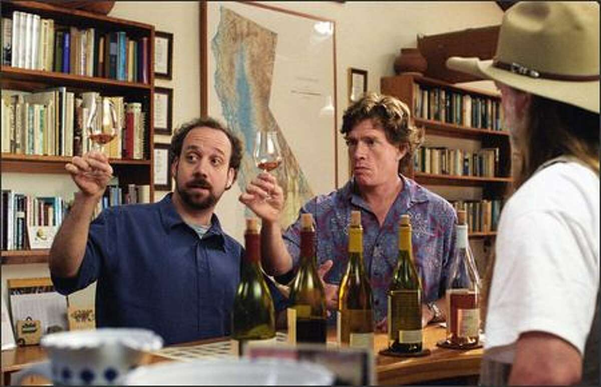 A wine tasting road trip to salute Jack's (Thomas Haden Church, right) final days as a bachelor careens woefully sideways as he and Miles (Paul Giamatti, left) hit the gas en route to mid-life crises.
