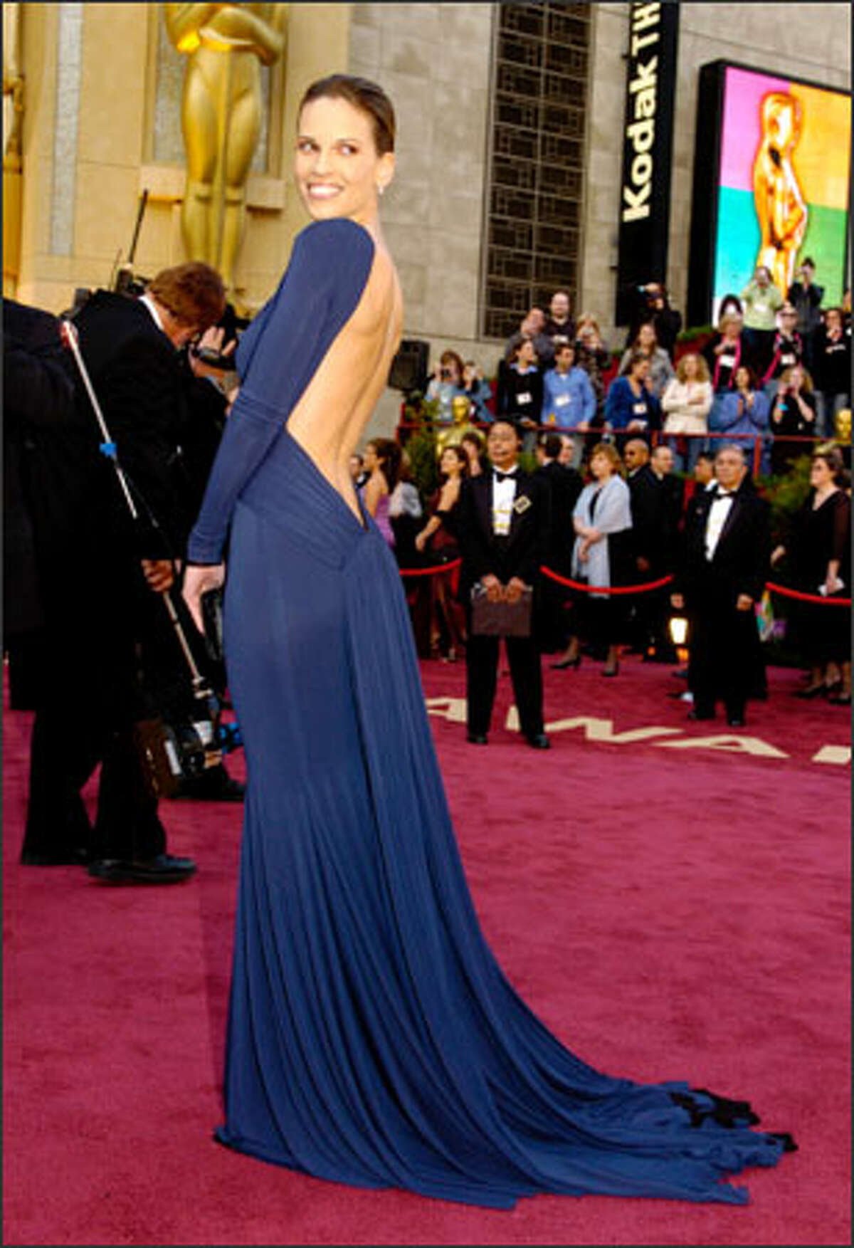 Hilary Swank arrives for the 77th Academy Awards in Los Angeles. Swank won the Oscar for best actress in a leading role for her work in