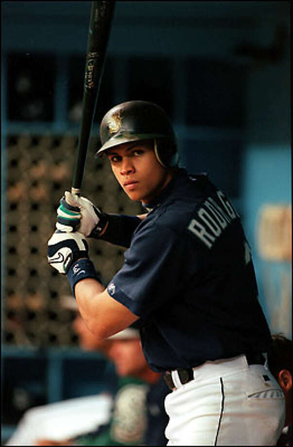1997: Alex Rodriguez gets in a few swings before going to the on-deck circle in a game against the Chicago White Sox at the Kingdome. Photo: Grant M. Haller, Seattle Post-Intelligencer