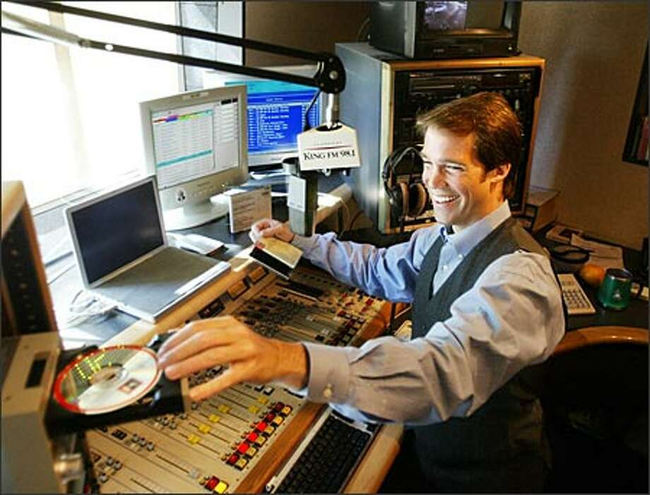 In just six months as a KING-FM announcer, Sean MacLean is making an impression on Seattle listeners. Photo: Scott Eklund/Seattle Post-Intelligencer