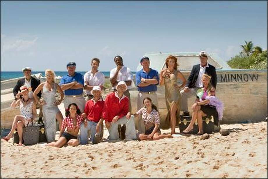 "The Castaways for the second season of ""The Real Gilligan's Island,"" debuting June 8 on TBS : (left to right) Millionaires Howard Schur & Melissa Jones, Ginger Erika Eleniak, Mary Ann Mandy, Skipper Ken, Gilligan Zac, Professor Andy, Gilligan Shawn, Professor Tiy-E, Mary Ann Randi, Skipper Crazy Charlie, Ginger Angie Everhart, Millionaires Jim and Donna Bounce. Photo: TBS"