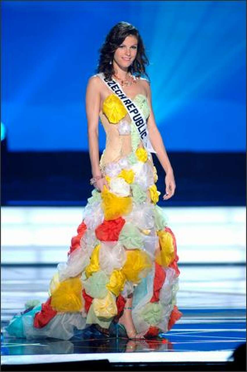 Katerina Smejkalova, Miss Czech Republic, competes in an evening gown of her choice during the 2005 Miss Universe Presentation Show at Impact Arena, Exhibition and Convention Center in Bangkok, Thailand on May 26. During the presentation show, each contestant was judged by a preliminary panel of six judges in swimsuit and evening gown categories, after two days of one-on-one interviews. The scores will be tallied and the top 15 contestants will be announced during Monday's telecast (NBC, tape-delayed to 9 p.m. PDT), at the conclusion of which a winner will be crowned.
