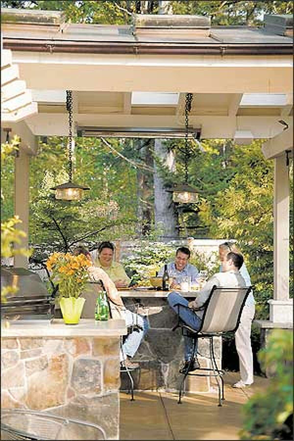 Bar stools in the covered area make this a comfortable all-weather spot.