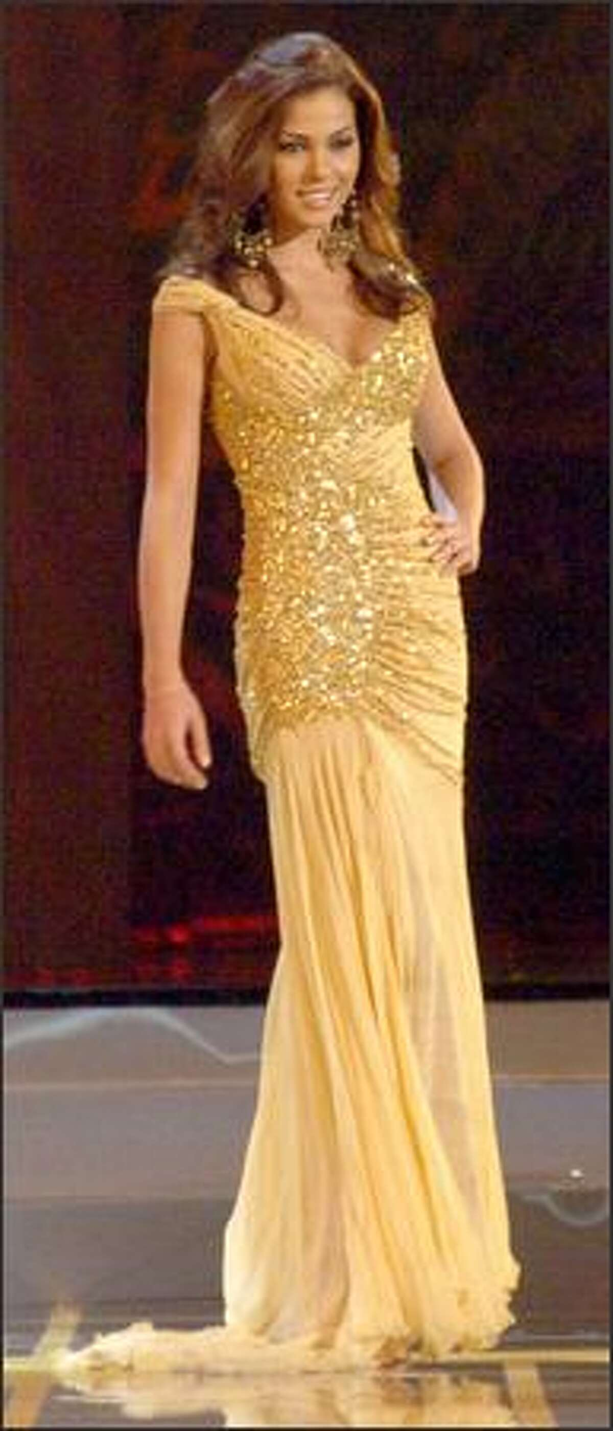 Miss Universe 2005 semi-finalist Laura Elizondo, Miss Mexico, participates in the evening gown portion of the live NBC broadcast of the competition from Impact Arena in Bangkok, Thailand.