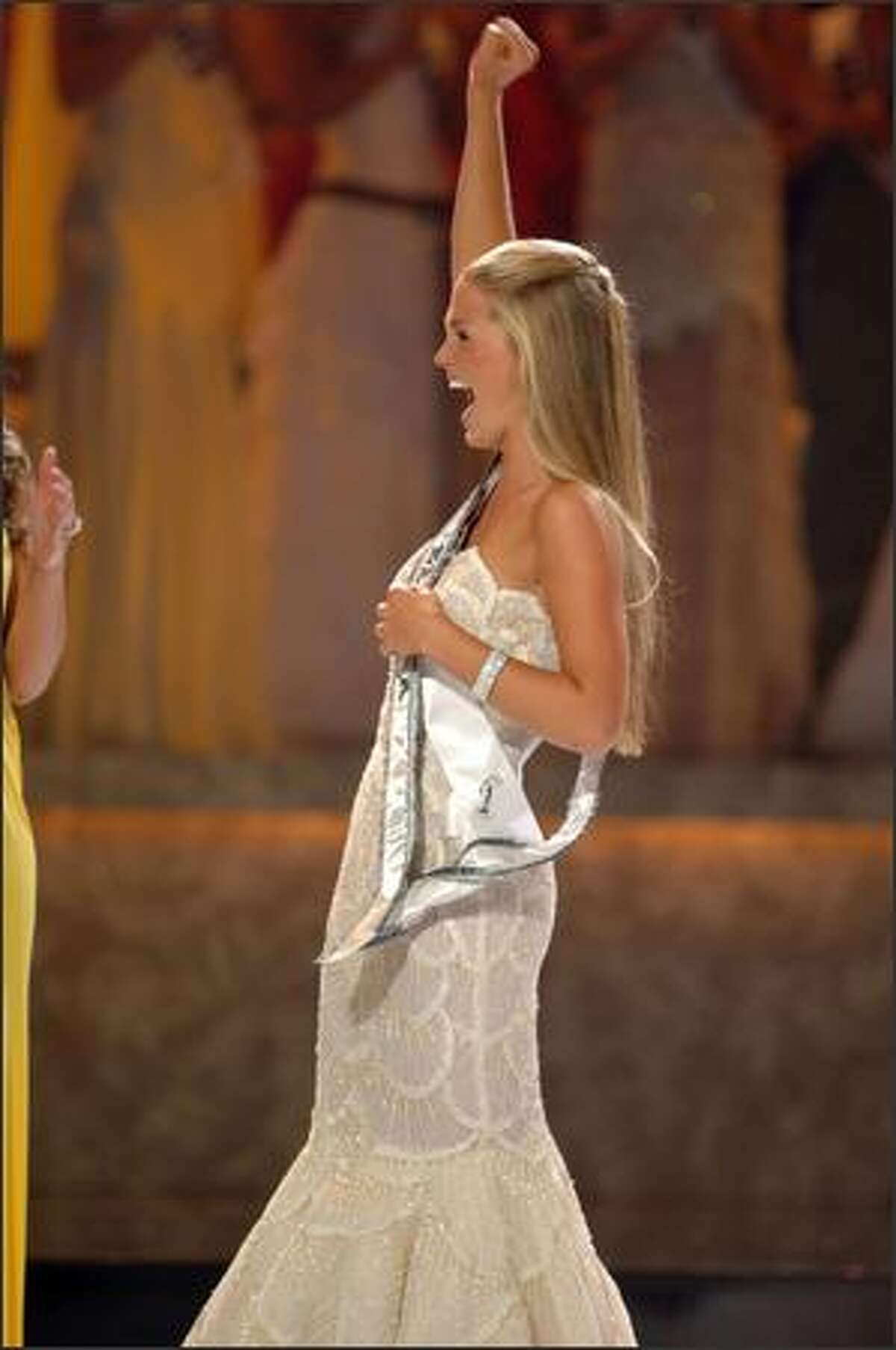 Allie LaForce, 16, from Vermilion, Ohio, reacts after being named Miss Teen USA 2005 at the conclusion of the live NBC broadcast of the 22nd annual competition. She will spend her year-long reign making special appearances on behalf of the Miss Universe Organization, its sponsors and affiliated charities.