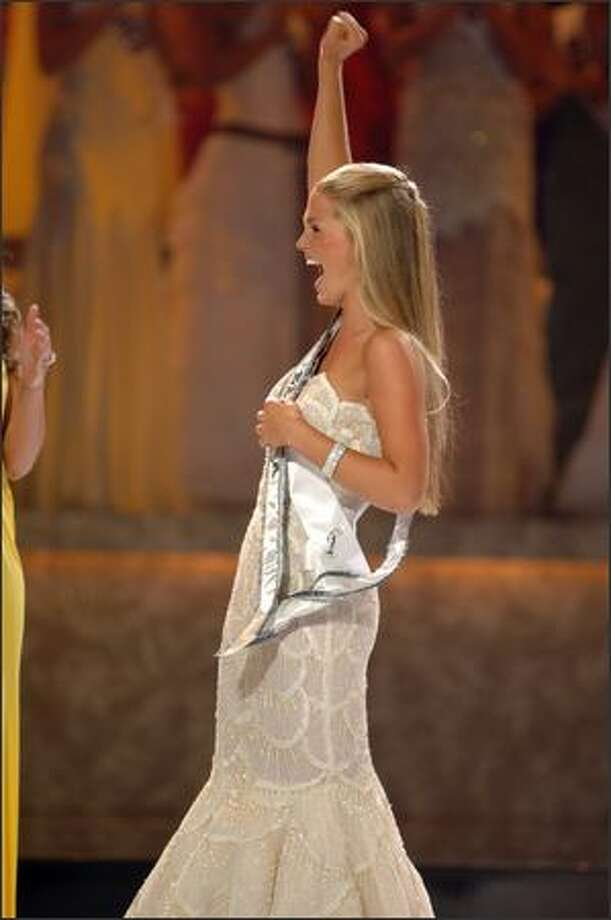 Allie LaForce, 16, from Vermilion, Ohio, reacts after being named Miss Teen USA 2005 at the conclusion of the live NBC broadcast of the 22nd annual competition. She will spend her year-long reign making special appearances on behalf of the Miss Universe Organization, its sponsors and affiliated charities. Photo: Miss Universe L.P., LLLP