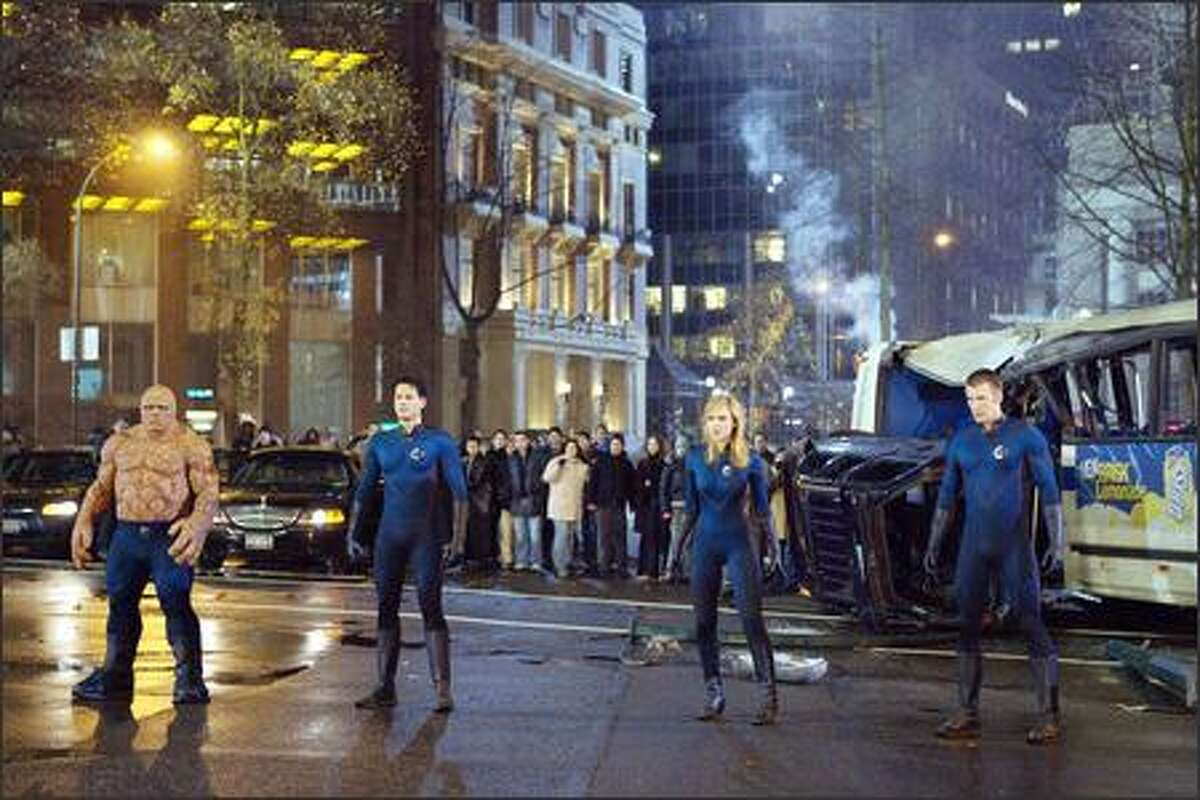 Nearly 45 years after their comic-book debut, Marvel Comics' premier heroes, the Fantastic Four, have finally made it to movie screens. Ben Grimm (Michael Chiklis), Reed Richards (Ioan Gruffudd), Sue Storm (Jessica Alba) and Johnny Storm (Chris Evans) gain superhuman powers, and begin a new life of adventure, after being mutated by a cosmic storm during a space mission.