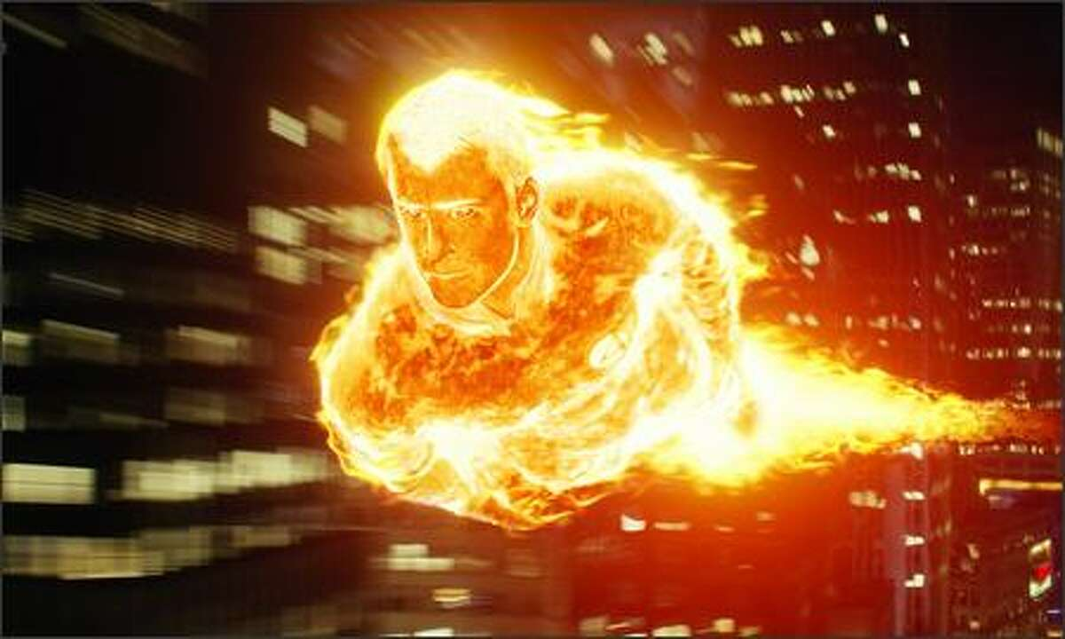 """Johnny Storm (Chris Evans) becomes the Human Torch, gaining the powers to manipulate fire and fly. Special effects coordinator Kurt Williams says """"we want the audience to always be able to see his face and his eyes even when he's completely engulfed in flames."""""""