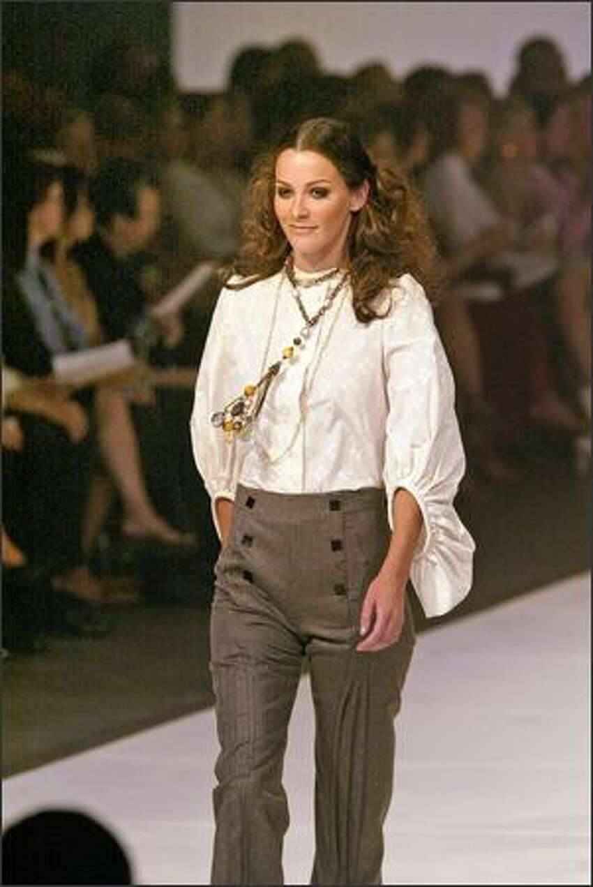 ZAC POSEN COLLECTION: Tan bubble blouse with gray wool pleated-leg sailor pants.
