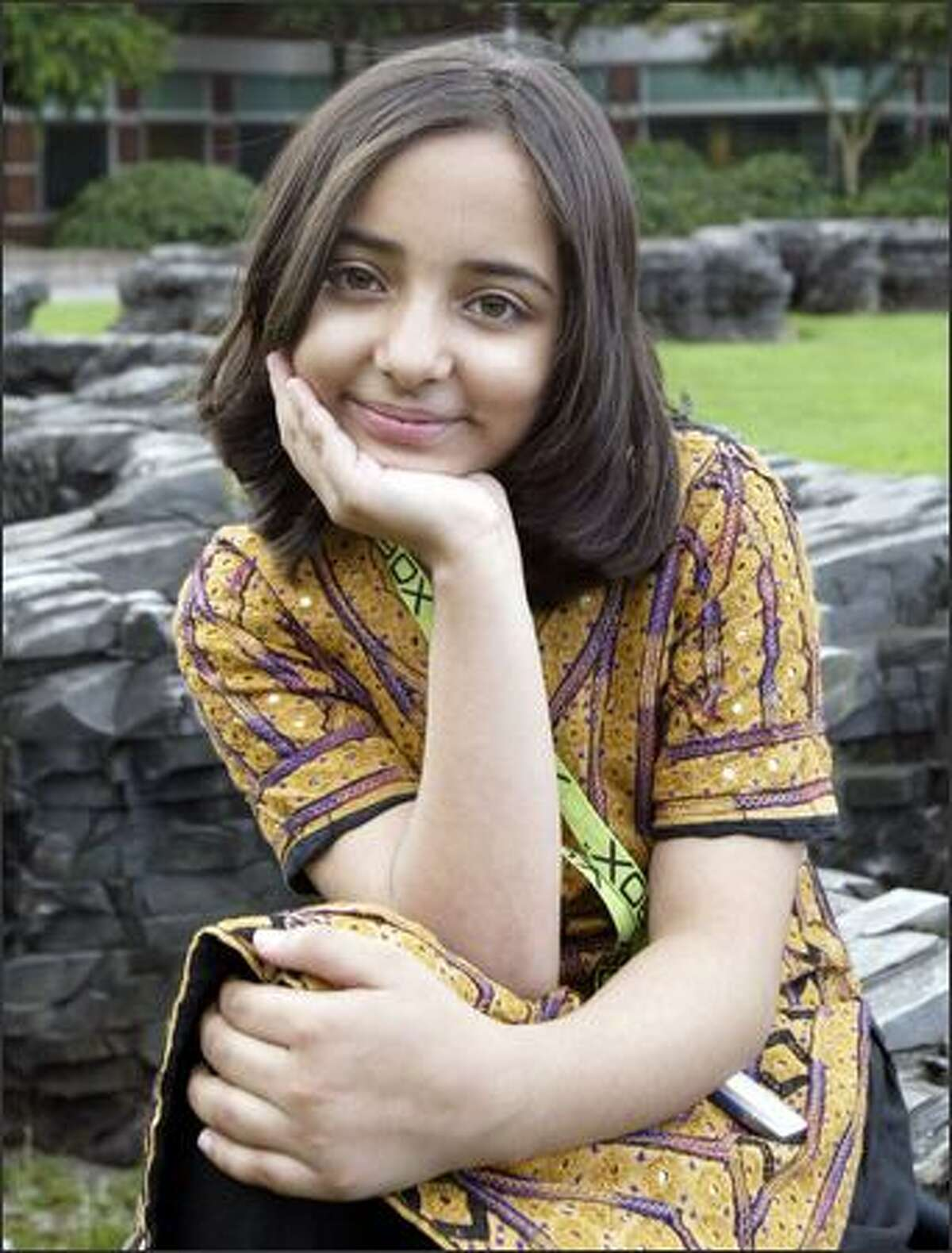 Ten-year-old Arfa Karim Randhawa of Pakistan, believed to be the youngest person in the world to have earned Microsoft Certified Professional status, visits the company's Redmond campus.