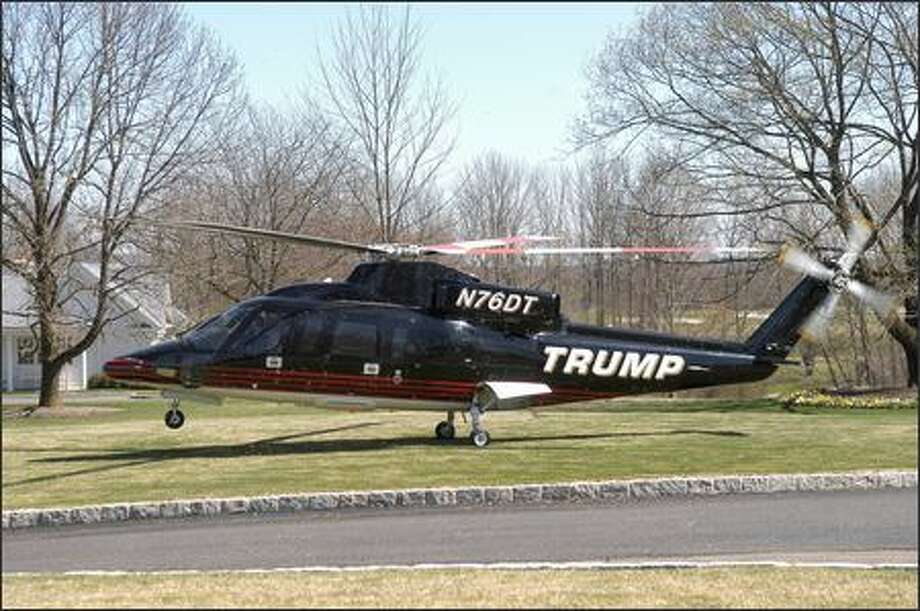 Donald Trump's private helicopter delivers the master to Trump National Golf Course. Photo: NBC