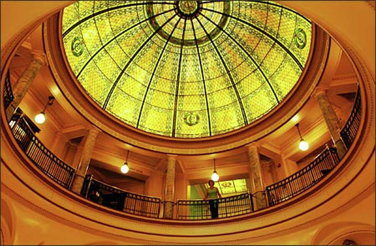The spacious Pacific County Courthouse in South Bend, Wash., feels as if it should be in Washington, D.C. Shown is its art glass dome.