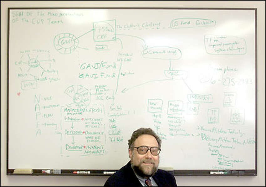 At PATH offices in Seattle, Dr. Mark Kane sits in front of a diagrammed conception of the Global Alliance for Vaccines and Immunization that he has been refining since it first began to take shape in September 1999. Kane is a veteran of immunization campaigns and strategies.