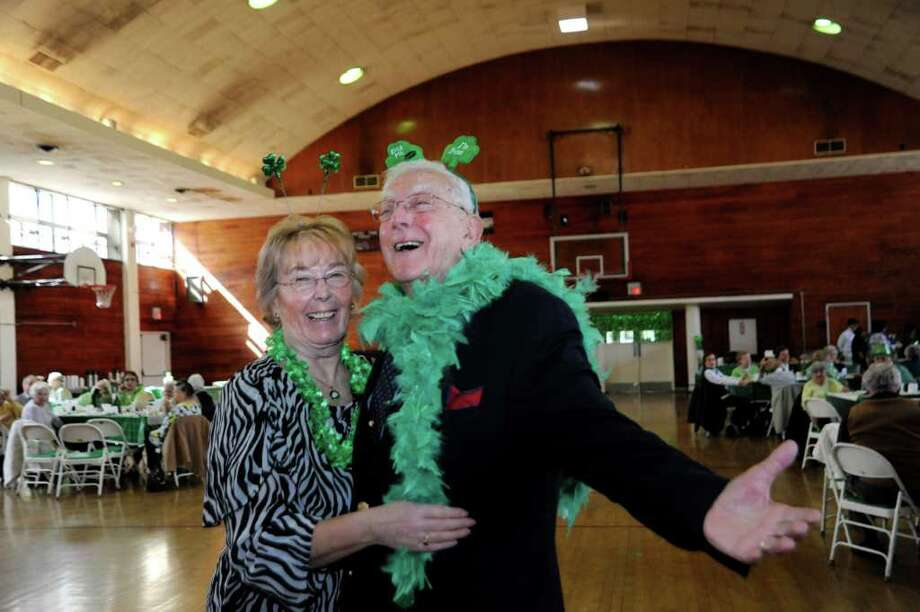 Helma Varga and Frank Sacco dance at Greenwich Senior Center's St. Patrick's Party at the Eastern Greenwich Civic Center, on Thursday, March 17, 2011. Photo: Helen Neafsey / Greenwich Time