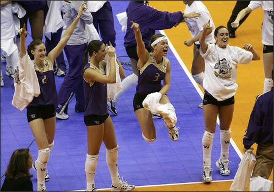 5. 2005 Huskies volleyballThe Huskies beat Nebraska for their first volleyball national championship after a 32-1 season. Head coach Jim McLaughlin became the first coach to win national championships with both a men's and women's team (he'd previously won with the USC men's team in 1990), and two players -- Courtney Thompson and Sanja Tomasevic -- were named first-team All-Americans. Thompson also won the Honda Award as the nation's best player.SanjaTomasevic Photo: Kin Man Hui, San Antonio Express News