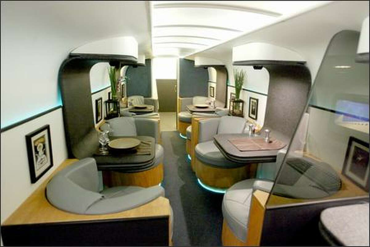 In addition to the skybeds above the main cabin, Boeing is also offering airlines a corporate jet-style dining room and lounge.