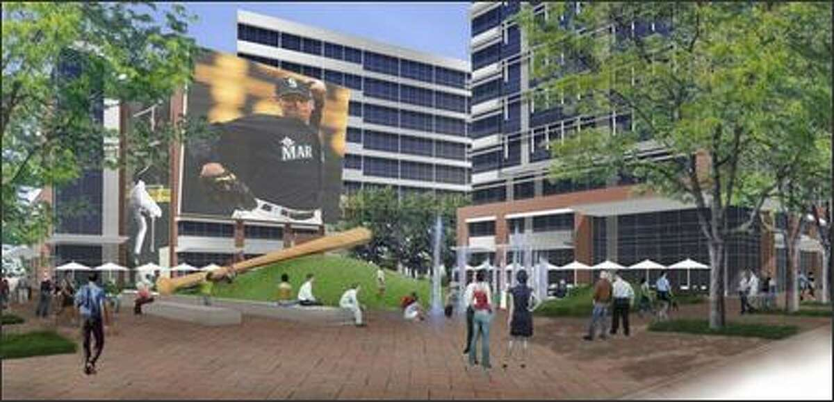 To allay concerns about the height of the project, which the stadium owners were afraid would block their views, Greg Smith plans a Mariners-themed park at the southeast tip of the 8-acre property.