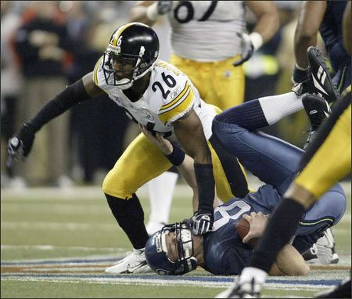 Matt Hasselbeck is sacked by Deshea Townsend in the fourth quarter.