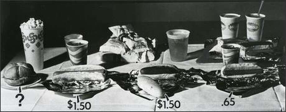 Regular hot dogs were 65 cents during the Mariners' 1977 inaugural season. King Dogs were $1.50, as were the New Orleans Hot Links. Olympian beer was on tap. (Grant M. Haller, P-I/1976) Photo: P-I File