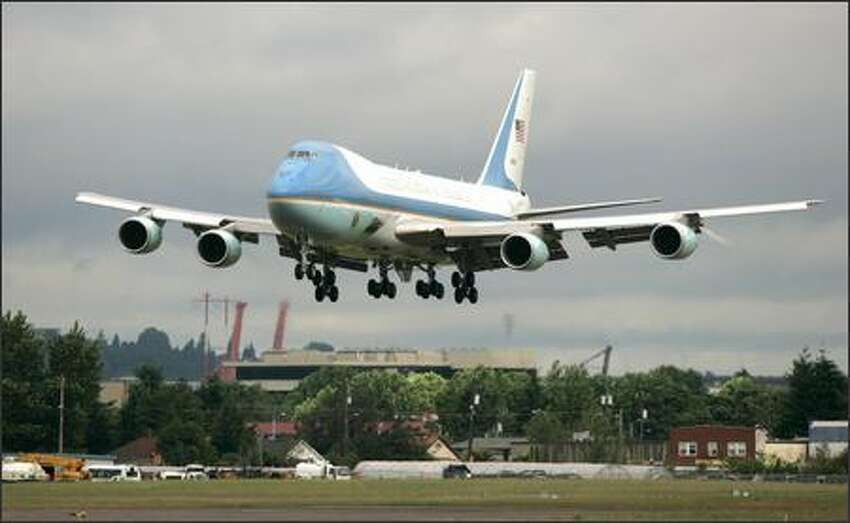 President George W. Bush arrives at Boeing Field aboard Air Force One for a brief Seattle-area fund-raising stop.