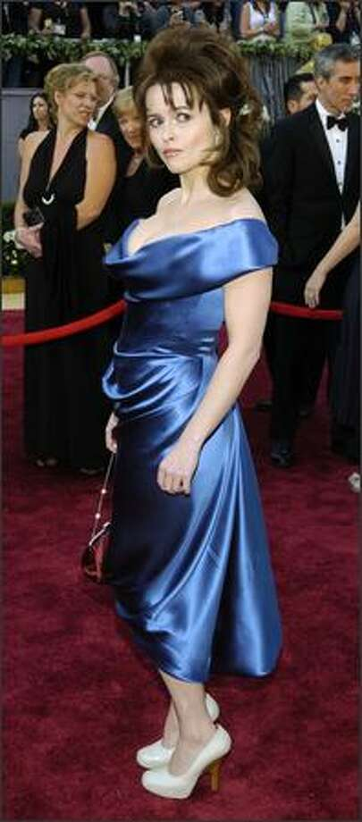"""Actress Helena Bonham Carter arrives for the 78th Academy Awards. Her husband, director Tim Burton is nominated in the best animated feature film for """"Tim Burton's Corpse Bride."""" (AP Photo/Chris Pizzello) Photo: Associated Press"""