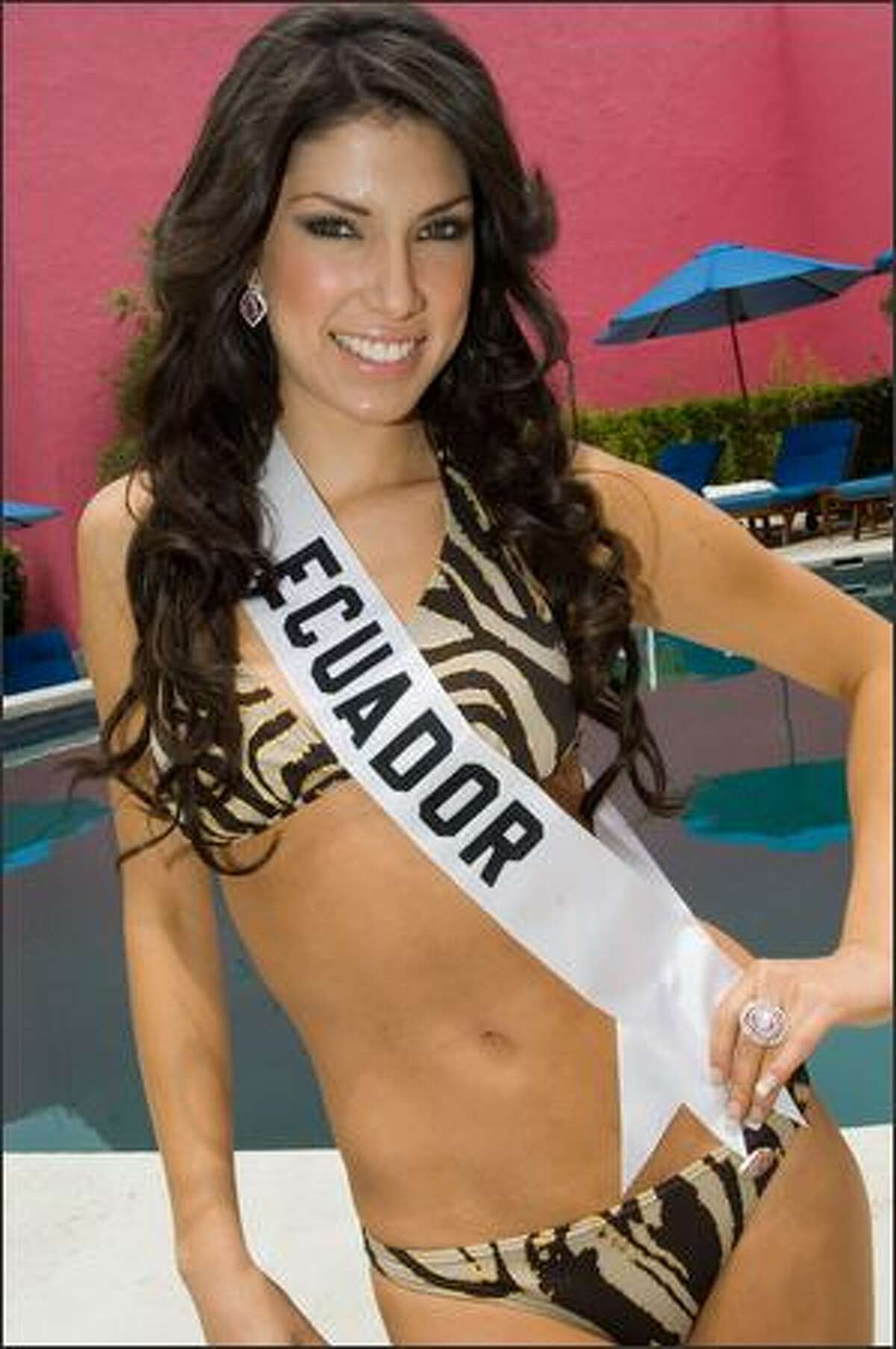 Maria Lugina Cabezas Andrada, Miss Ecuador 2007, poses in her BSC Swimwear Thailand swimsuit during registration and fittings for the Miss Universe 2007 competition at the Camino Real Mexico in Mexico City on May 1.