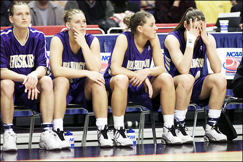 The University of Washington women's basketball team digests its loss to Southwest Missouri State last night in Spokane. Photo: Mike Urban, Seattle Post-Intelligencer
