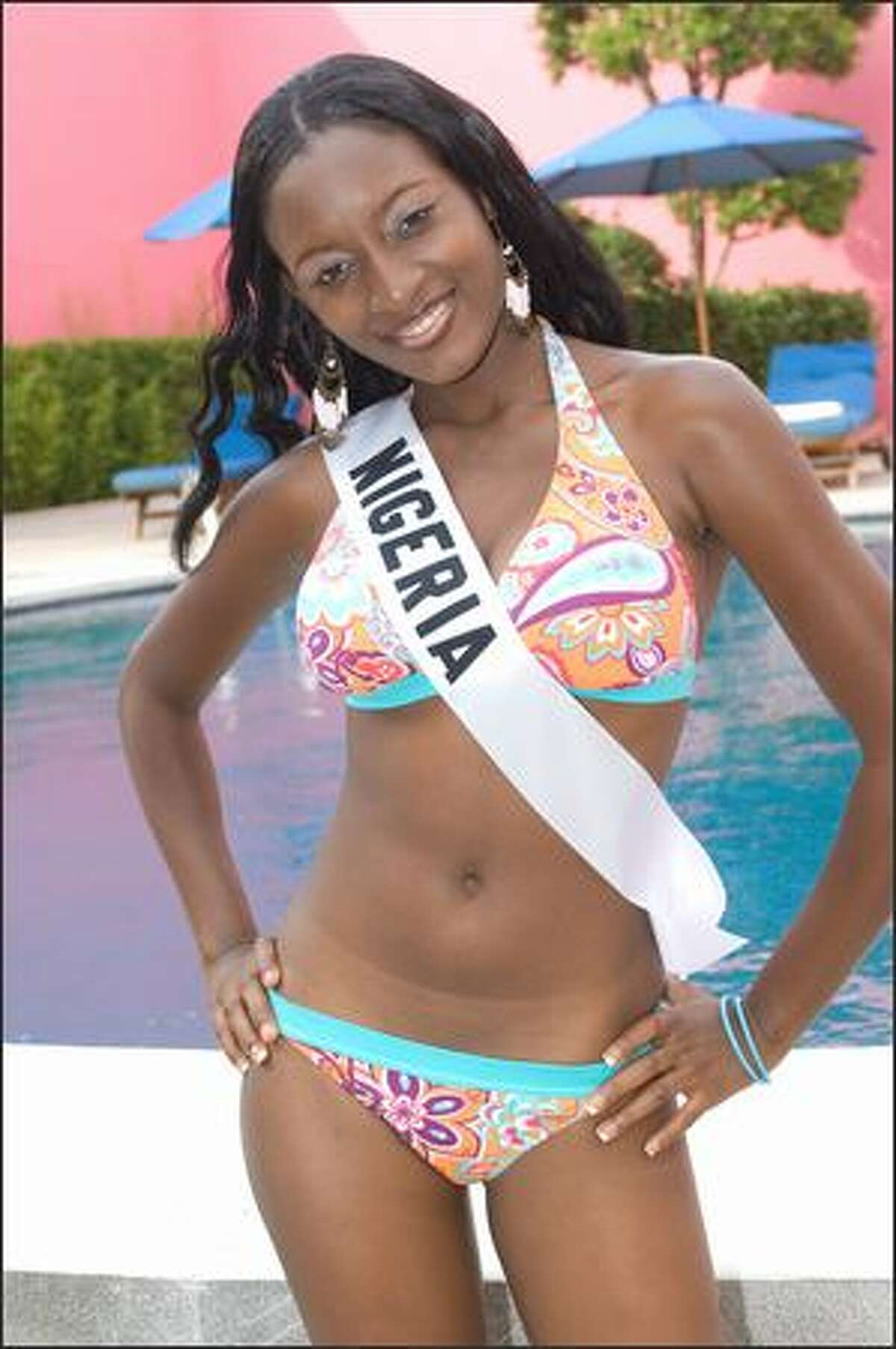 Ebinabo Potts-Johnson, Miss Nigeria 2007, poses in her BSC Swimwear Thailand swimsuit at the Camino Real Mexico in Mexico City on May 16.
