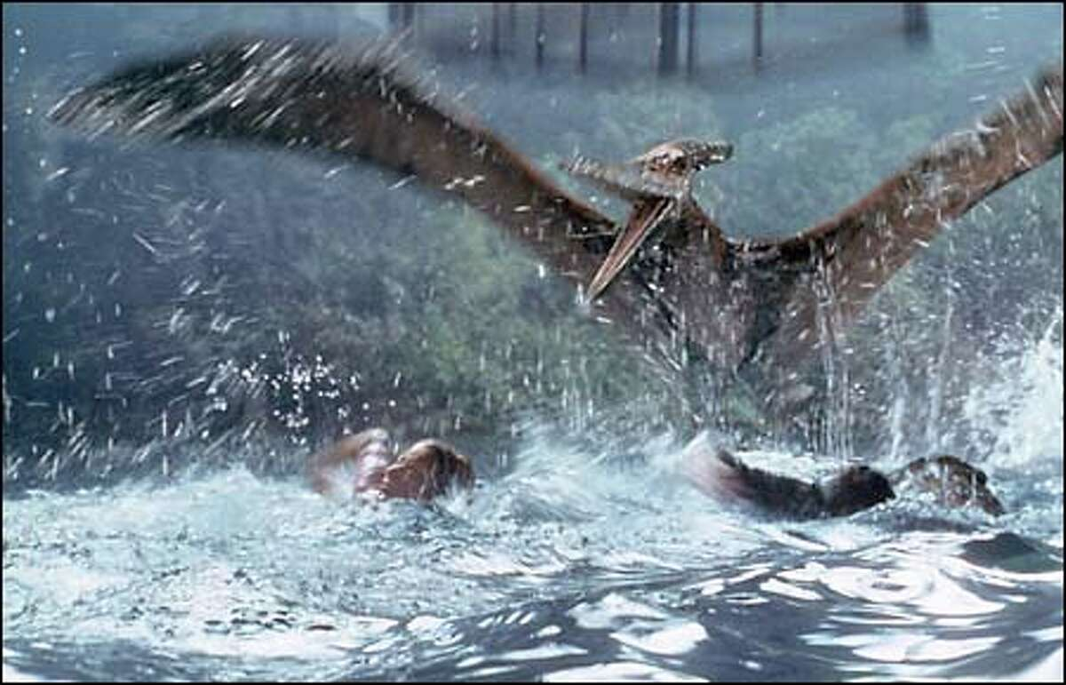 The Pteranodon pursues a meal for its young.