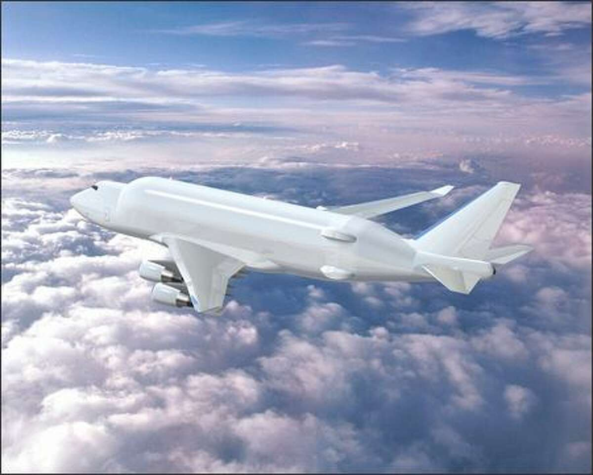 The Large Cargo Freighter, a modified 747, is now in development. It will be used to transport sections of the 787 to Charleston, S.C., from Japan and Italy, and then from Charleston to Everett. The Large Cargo Freighter will also haul sections of the Dreamliner directly to Everett from Wichita and from Nagoya, Japan. Boeing will need a fleet of at least three of the Large Cargo Freighters for the 787 program. It may eventually need more. (Illustration provided by Boeing)