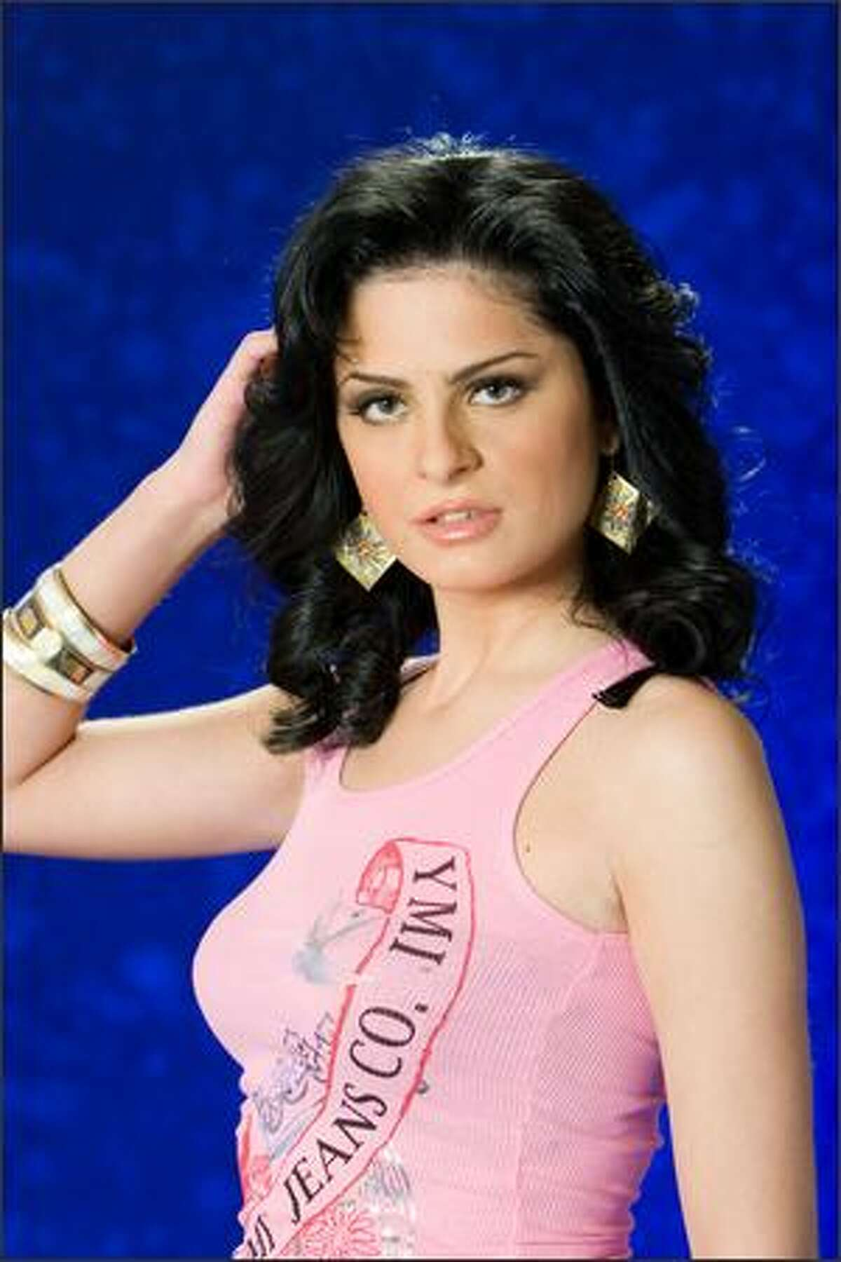Ana Giorgelashvili, Miss Georgia 2007, poses in her YMI Jeanswear at the Camino Real Mexico in Mexico City on May 4. She will compete for the title of Miss Universe 2007 during the NBC broadcast of the 56th annual Miss Universe competition from Mexico City on May 28.