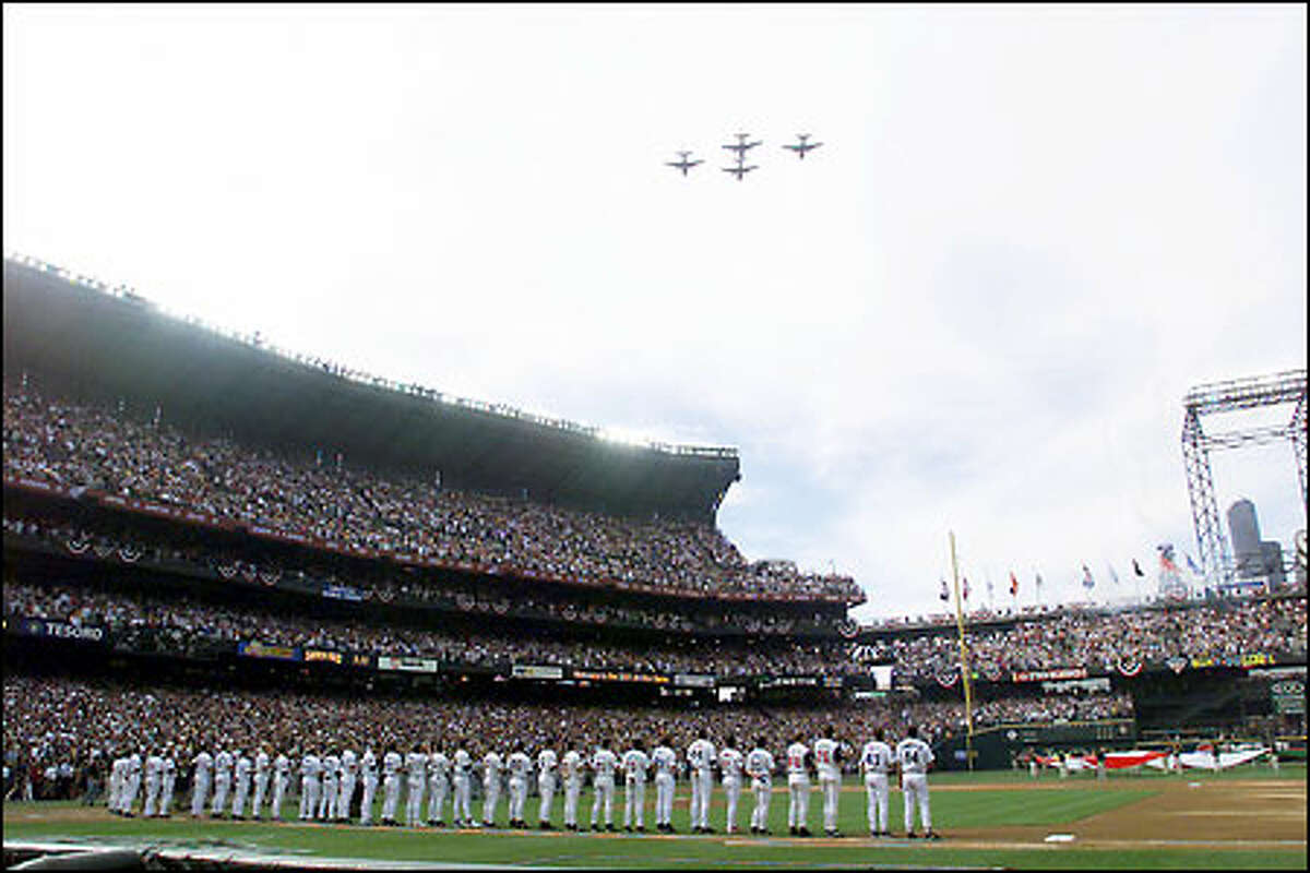 Pre-game flyover over Safeco Field at the beginning of the All-Star game.