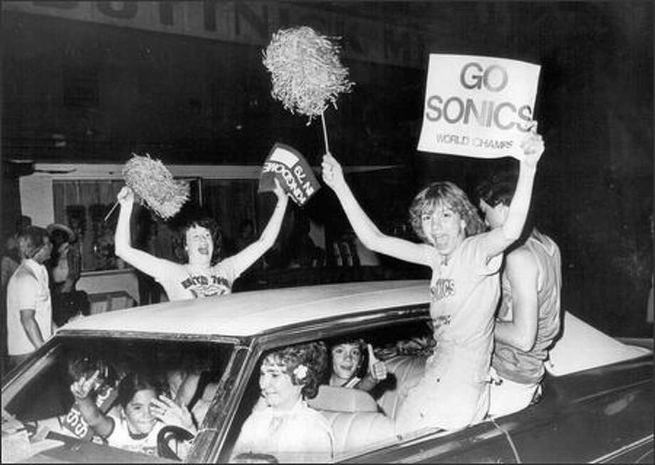 1979: Fans celebrate in Pioneer Square after the Seattle Supersonics won the 1979 NBA Championship. Photo: Seattle Post-Intelligencer