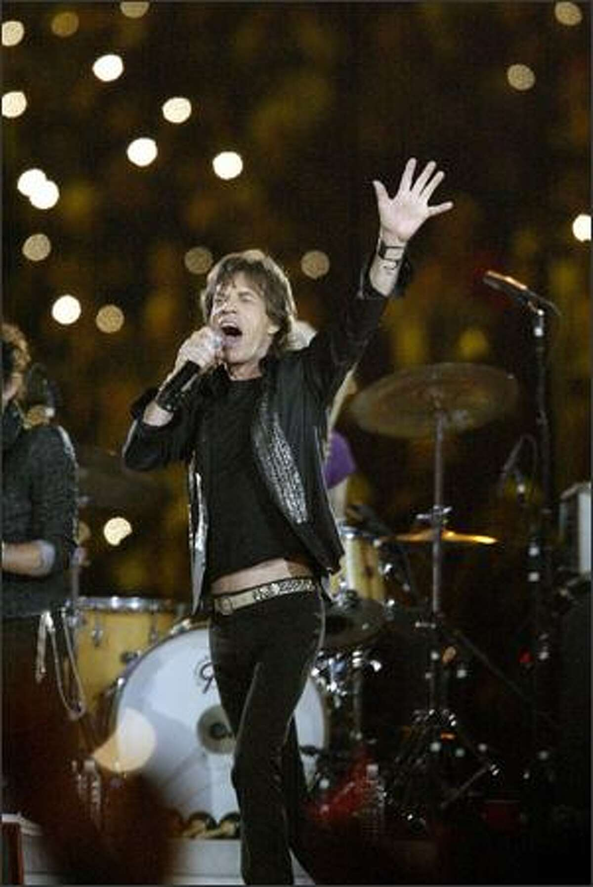 Mick Jagger performs at halftime with the Rolling Stones.
