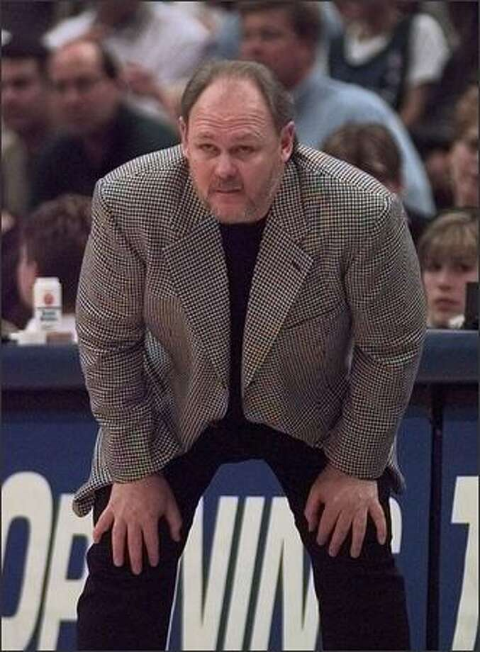 ~-SPECIAL FOR THE SEATTLE POST INTELLLIGENCER, ATTN: JEFF LARSEN-- Seattle head coach George Karl watches his team against Minnesota during game three of their NBA playoff game in Minneapolis, Tuesday April 28, 1998. (AP Photo/Charles Krupa)