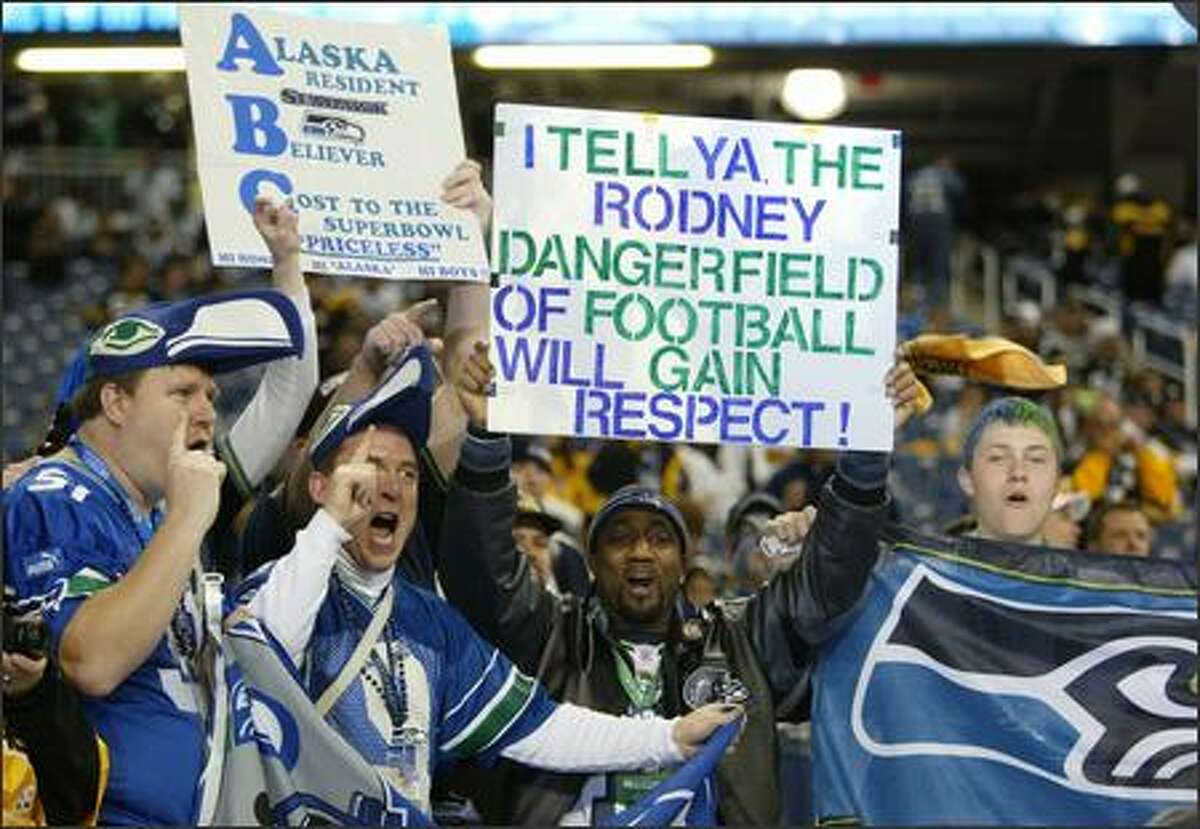 Seahawks fans try to get some respect before the game.