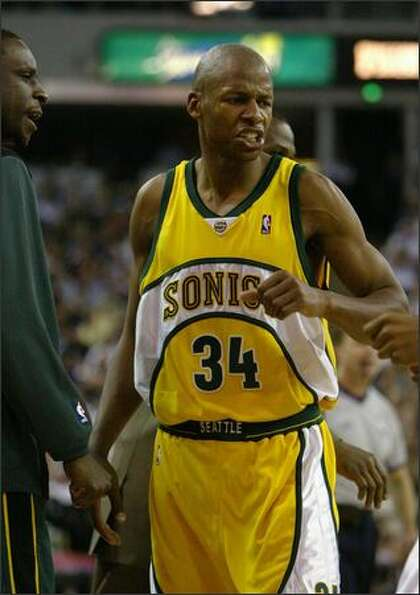 Ray Allen reacts as Seattle starts to pull ahead against Sacramento in Game 4 of the 2005 playoffs.