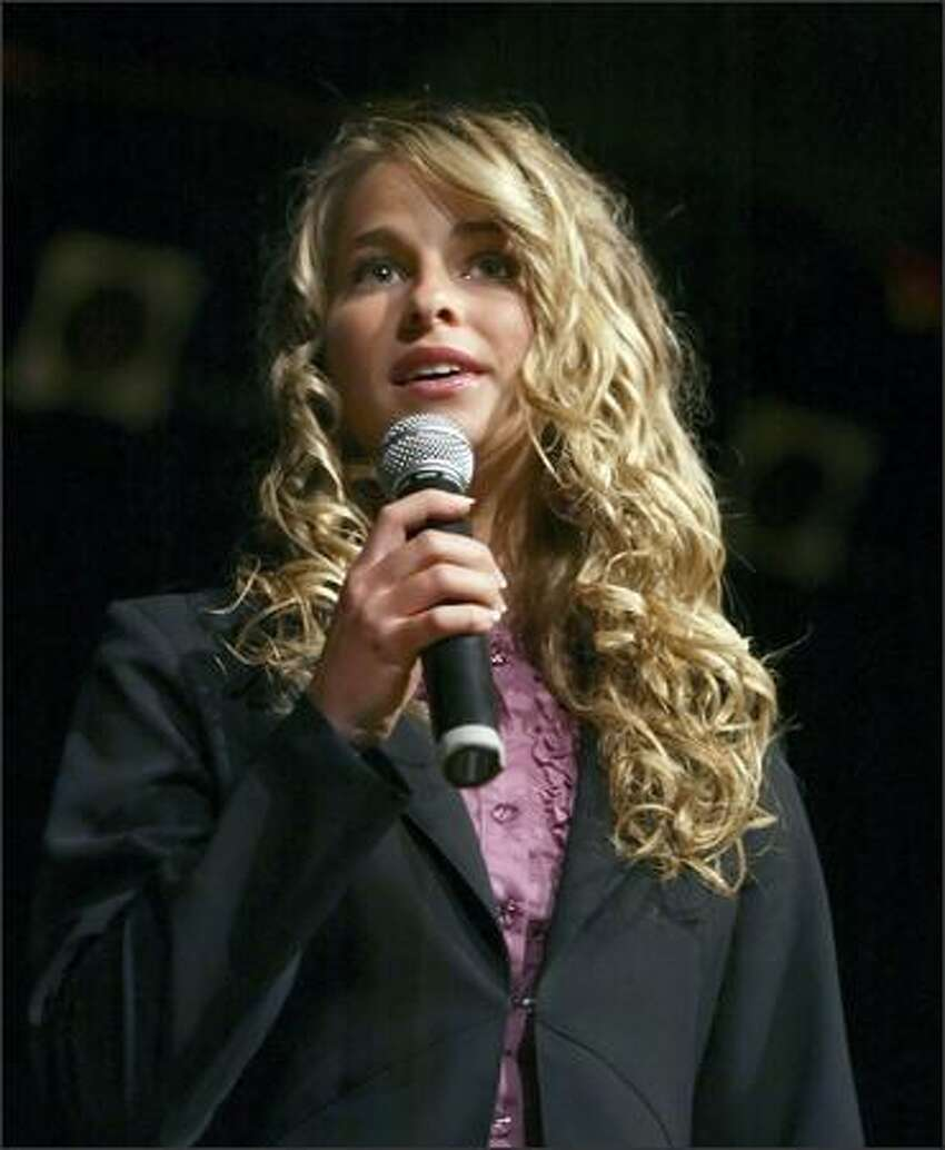 Bainbridge Island's Hannah King answers questions during the on stage interview during the 2006 Miss Seafair coronation Tuesday in Seattle.
