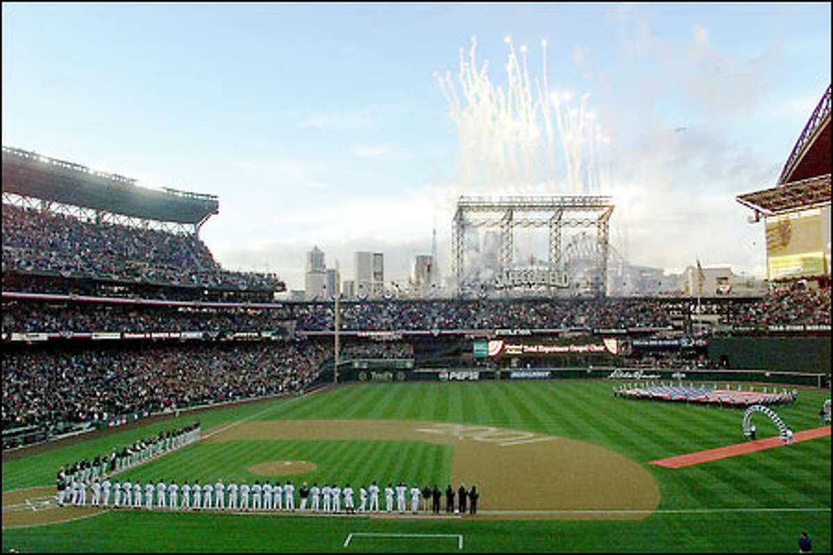 Opening ceremonies 2001 as Mariners face the Oakland A's at Safeco Field in Seattle.