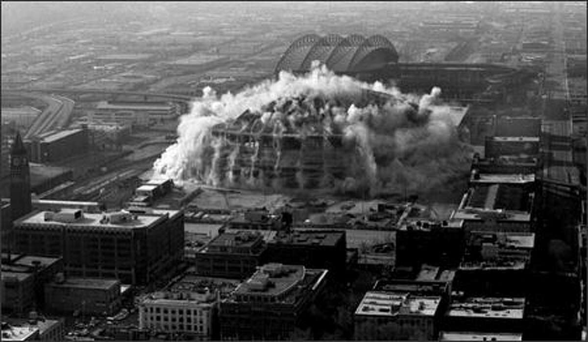 A picture of the Kingdome implosion from March 26, 2000.