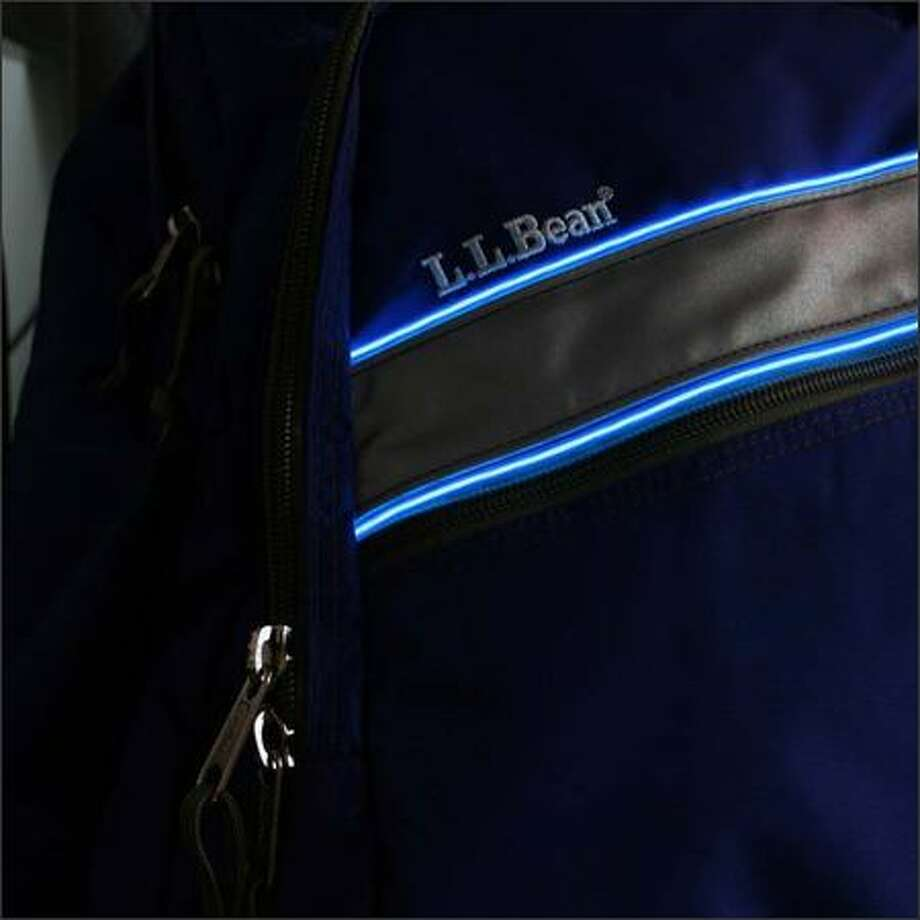 Illuminex packs: Choose from a range of backpacks and messenger bags, then add blue, hot pink or green luminescent piping. Takes two AA batteries. $34-$59 at www.llbean.com.