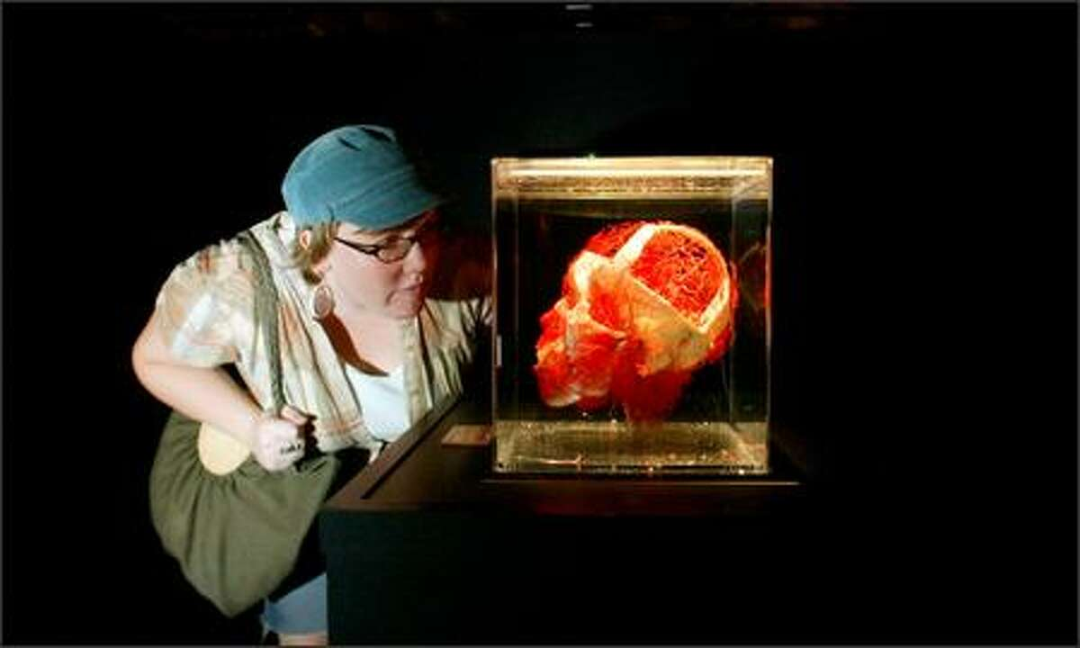 Lindy West from Where magazine in Seattle checks out a skull during a preview for the press of