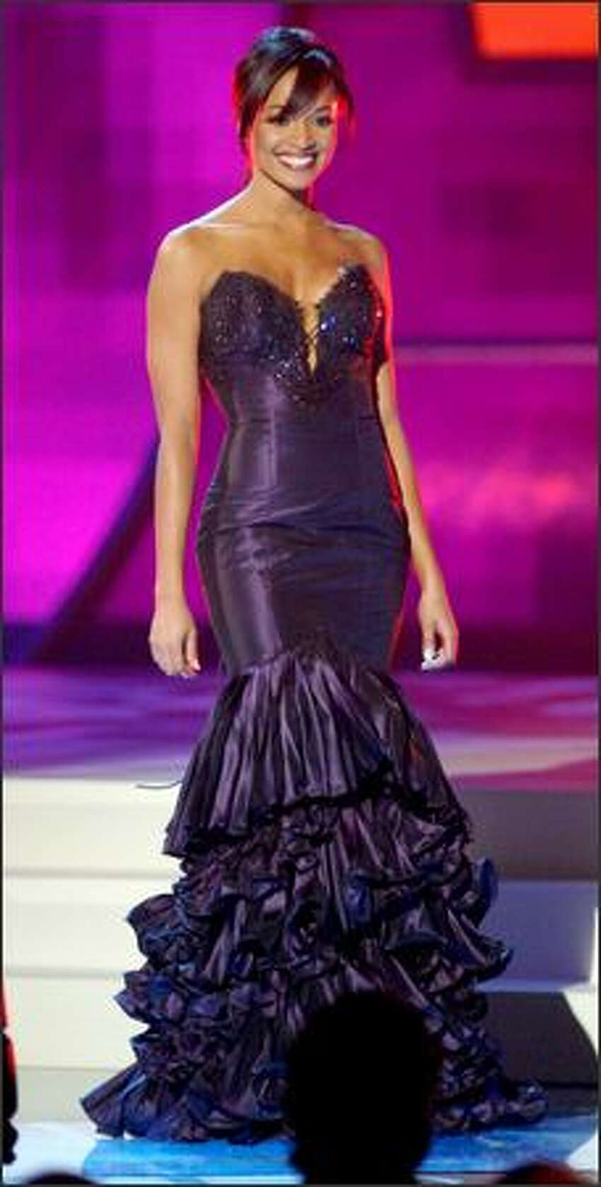 Tamiko Nash, Miss California, competes in the evening gown portion of the Miss USA competition at the 1st Mariner Arena in Baltimore.