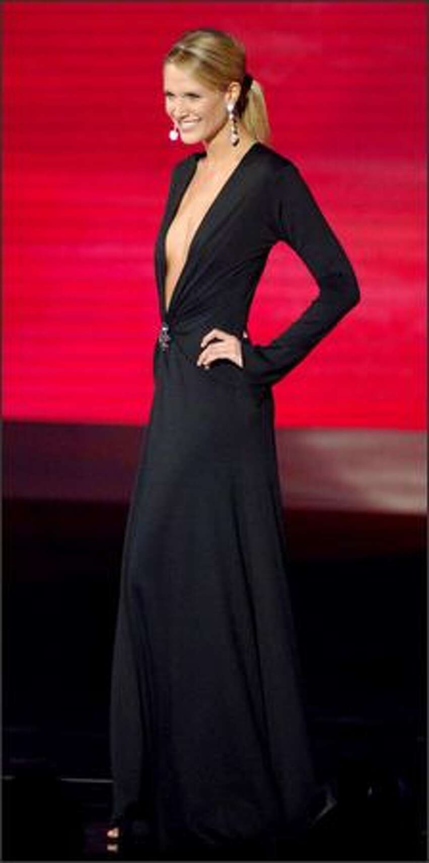 Stacy Offenberger, Miss Ohio, competes in the evening gown portion of the Miss USA competition at the 1st Mariner Arena in Baltimore.