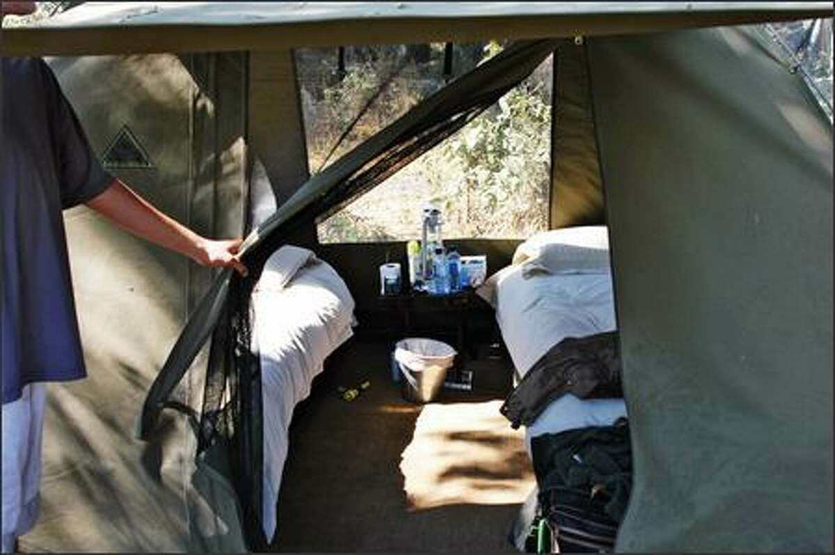 A peek inside a typical two-person tent.