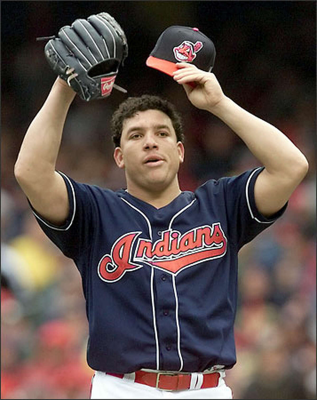 Cleveland starter Bartolo Colon pitched eight shutout innings against the Mariners earlier in the series. Today, he gave up three runs while struggling mightily in the seventh inning.