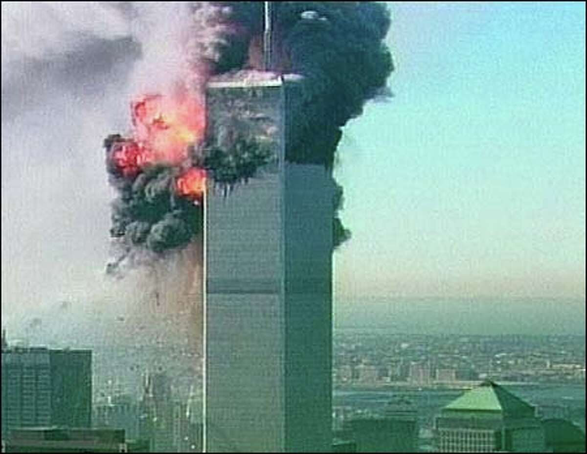 One of the towers at the World Trade Center in New York on Sept. 11, 2001.